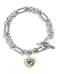 silver bracelet with gold heart images David yurman cable heart charm bracelet with gold jpg