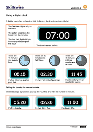 digital clock worksheets worksheets
