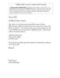 Rent Verification Letter Bank Account Verification Letter Bank Account Verification