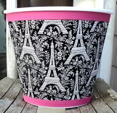 Bedroom Wastebasket Ooh La La Paris Wastebasket Black White Pink Michael Miller