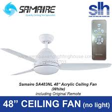 48 ceiling fan with light samaire sa483nl 48 ceiling fan without light white sembawang