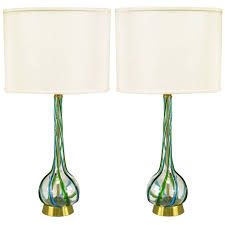Glass Table Lamp Pair Of Murano Blue And Green Ribbon Glass Table Lamps For Sale At