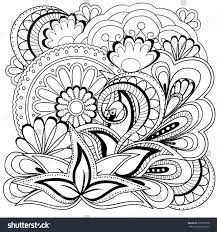 henna coloring pages hand drawn decorated image flowers mandalas stock illustration
