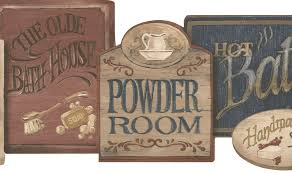 wallpaper borders bathroom ideas find and save country bath sign border vintage bathroom signs