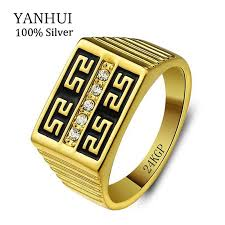 aliexpress buy new arrival fashion 24k gp gold men 24k gold rings with 24kgp st gold filled rings set cz diamant