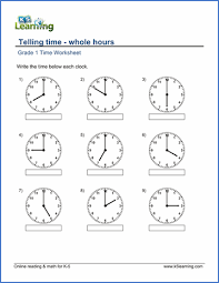 grade 1 math worksheet telling time whole hours k5 learning
