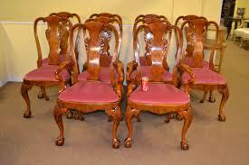 stunning set 10 queen anne burr walnut dining chairs