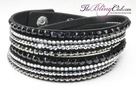 silver leather wrap bracelet images Black bling vegan leather crystal wrap bracelet buy bling here jpg