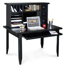 Small Corner Computer Desk With Hutch Furniture Style Black Stained Teak Wood Study Table With