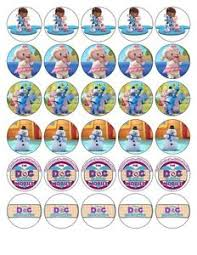 doc mcstuffin cake toppers 30 x doc mcstuffins edible wafer fondant paper cup cake toppers ebay