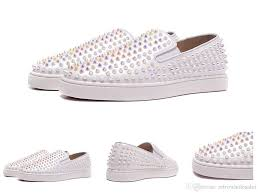 unisex mens casual shoes red bottom studded pearl spikes genuine