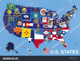 Alaska And Usa Map by Usa Map Flags States On Blue Stock Vektor 303212054 Shutterstock