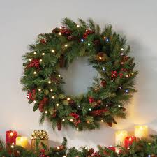 holiday time pre lit 18 christmas garland multi lights pre lit christmas cone berry battery operated wreath