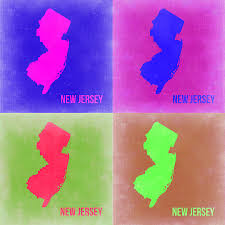 New Jersey Map New Jersey Pop Art Map 2 Painting By Naxart Studio