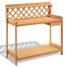 Outdoor Potters Bench Garden Wood Work Potting Bench Station With Hook Potting Benches