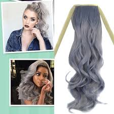 ladies hair pieces for gray hair grey color ash fashion girl 1 pc hair piece ponytail pony tail