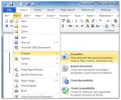 where is file properties in office 2007 2010 2013 and 365