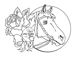 horse and rose coloring page for kids animal coloring pages