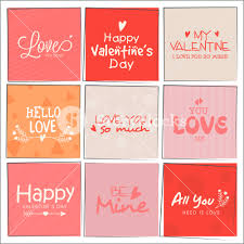 valentine s day beautiful greeting cards set with different typographic collection