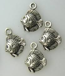 4 pcs fish sterling silver charms clouddome on artfire