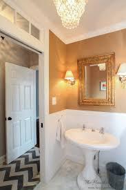 Powder Room With Pedestal Sink Powder Room Design With Grasscloth Wallpaper Vintage Pedestal