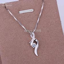 silver girls necklace images Wholesale chic womens girls necklaces 925 silver pendant austrian jpg