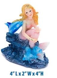 mermaid with dolphin fish tank decoration by