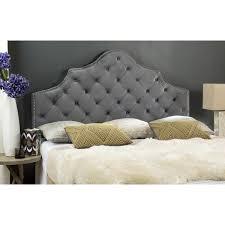 Tufted Bed Queen Safavieh Arebelle Pewter Velvet Upholstered Tufted Headboard