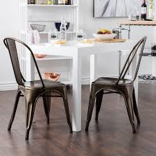Dining Chair Set Of 4 Belleze Set Of 4 Dining Chairs Steel Side Back Chairs Counter