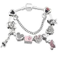 bracelet with charms images Minnie mouse snake chain bracelet with charms nikikiki jpg