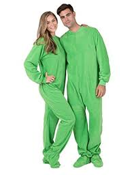 footed pajamas emerald green fleece