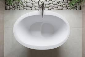 Freestanding Soaking Tubs Freestanding Bathtub Oval Solid Surface Stone True Ofuro