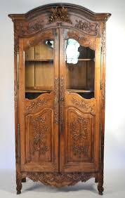 Armoire With Glass Doors 19th Century Walnut Glass Door Provencal Armoire Weddiing Cabinet