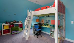 Diy Loft Bed With Desk Build Loft Bed With Desk On Top Room Decors And Design