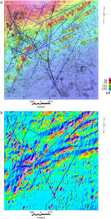 Red Line Map A Aeromagnetic Map With The Main Lineament Orientations Of