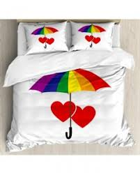 rainbow throw pillow case hearts umbrella love print cushion cover