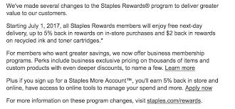 negative changes to staples rewards program starting july 1 no