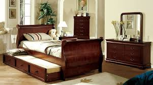 King Bed With Trundle Philippe Jr Dark Cherry Finish Twin Trundle Platform Sleigh Bed