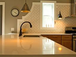 kitchen interior herringbone tile pattern backsplash arabesque