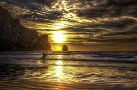 Beautiful Landscapes Sunsets Painted Surfer Golden Beach Sunset Beautiful Landscapes