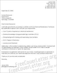resume electrician sample maintenance technician cover letter sample