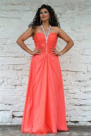 cute halter long coral chiffon beaded plus size corset party prom