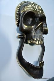 skull head and jaw heavy front door knocker solid brass day of the