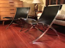 sold leather u0026 chrome paul tuttle style sling chairs modern to