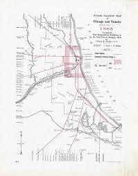 Chicago City Limits Map by Steam Railway Maps Of Chicago 1848 1910