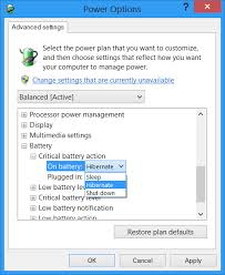 resetting battery windows 7 change critical low level battery action in windows 10