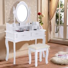 Bathroom Vanity With Stool White Vanity Makeup Dressing Table With Mirror 4 Drawers 35 4