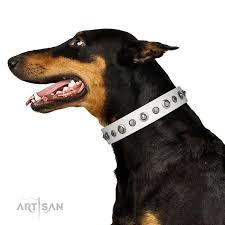 Comfortable Dog Collars Infinite Purity White Fdt Artisan Leather Doberman Collar With