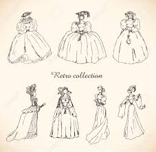 set with sketches of women in retro clothes ladies in historical