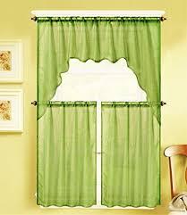 Lime Green Sheer Curtains Gorgeoushomelinen K66 3 Pc Solid Voile Rod Pocket Kitchen Window